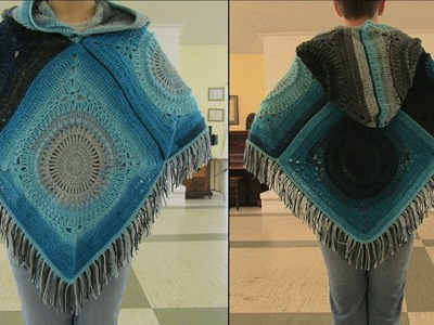 Adult Crochet Poncho With Hood Tutorial | How to Crochet a Hooded Poncho