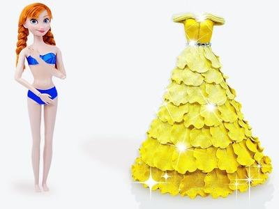 Disney Princess Dress Up ???? DIY BELLE Princess Dress Up Play Doh for Anna