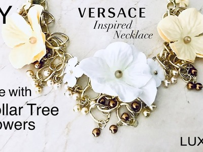 DIY Designer Inspired Flower Necklace Made with Dollar Tree Flowers | Versace Inspired |