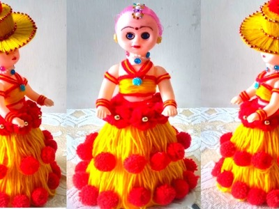 DIY DOLL DECORATION USING WOOL.BEAUTIFUL WOOLEN DOLL DRESS MAKING.HOW TO DECORATE DOLL USING WOOLS