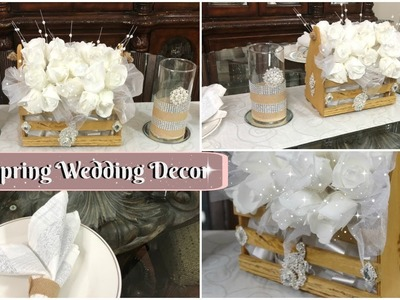 DIY DOLLAR TREE GLAM SPRING WEDDING OR BRIDAL DECOR   DIY BLING WEDDING CENTERPIECE IDEAS