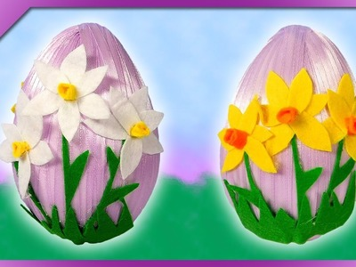 DIY Easter egg with felt flowers, felt narcissus jonquilla (ENG Subtitles) - Speed up #582