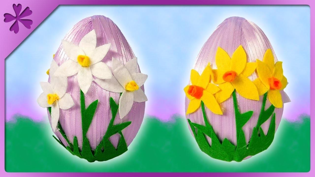 DIY Easter egg with felt flowers, felt narcissus jonquilla (ENG Subtitles) - Speed up #582