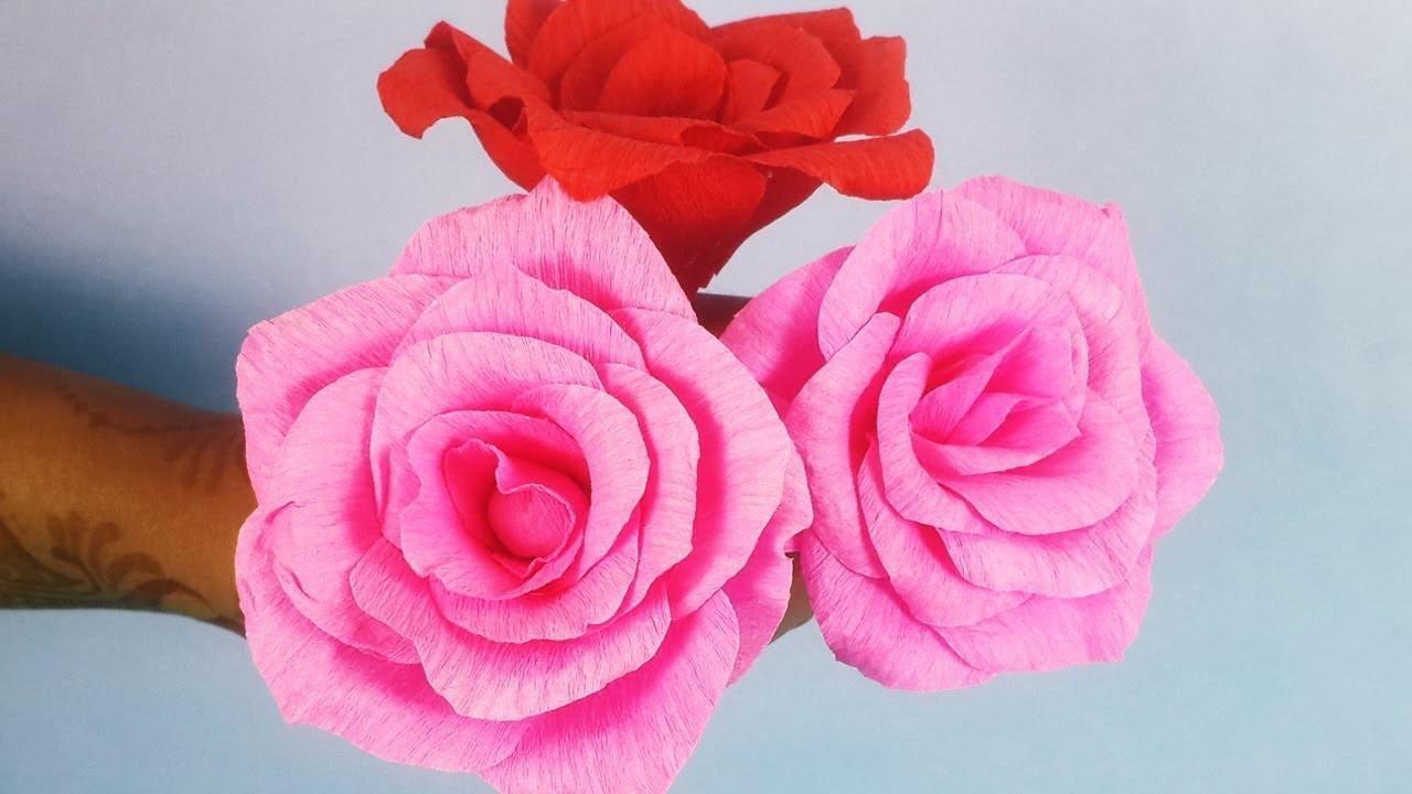 DIY Easy Paper Rose Making - Handmade Rose Making Step by step - आसान गुलाब बनाना सीखें