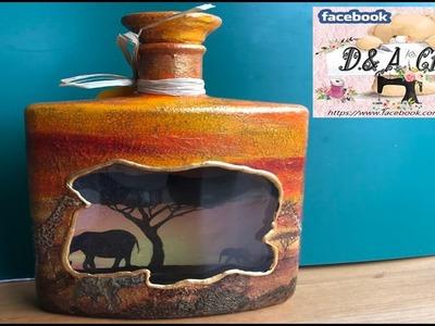 DIY: How to make safari decoration on whiskey bottle TUTORIAL