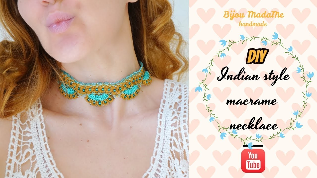 DIY indian style macrame necklace | Macrame necklace choker tutorial | DIY macrame jewelry