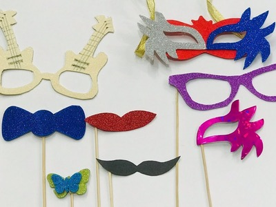 DIY photobooth props idea   How to make masquerade masks   How to make Party Props at home
