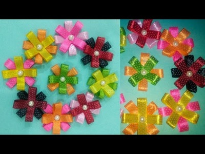DIY Ribbon gift bow   ribbon flower tutorial