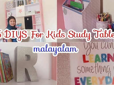 DIY STUDY TABLE DECORS AND ORGANIZER. KIDS STUDY DESK ORGANIZING IDEAS IN MALAYALAM