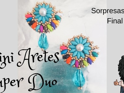 DIY TUTORIAL MINI ARETES SUPER DUO. simple flower earring #handmadeaccesories #simpleearring