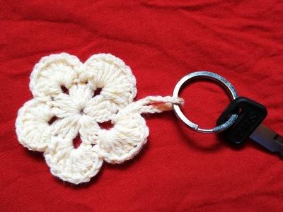 Easy Crochet Flower Key Chain DIY
