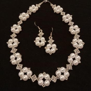 Handmade Square & Diamond Necklace Earrings Jewellery Set