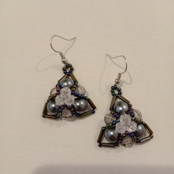 Handmade Triangle Grey Pearl Earrings Jewellery Accessories