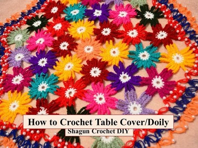 How to Crochet Flower inspired Table Cover.Doily Part-2.Thalposh