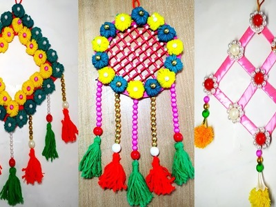 How To Make 3 Door Hanging Toran Making Using Wool.Tutorial Wall Hanging Toran Making At Home