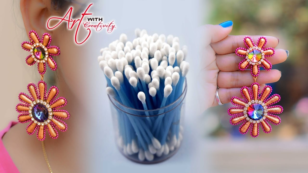 How to make cotton bud.swab earring | Hand made jewelry | DIY | Art with Creativity