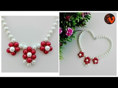 How to make pearl necklace at home. Jewellery Making