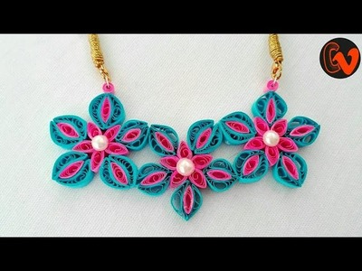 How to make quilling necklace at home. Quilling pendant tutorial