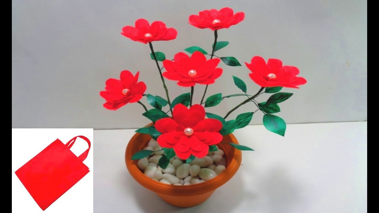 How to Make Shopping Bag Flowers -DIY Shopping Bag Flowers for Room Decor - Best Out of Waste Idea