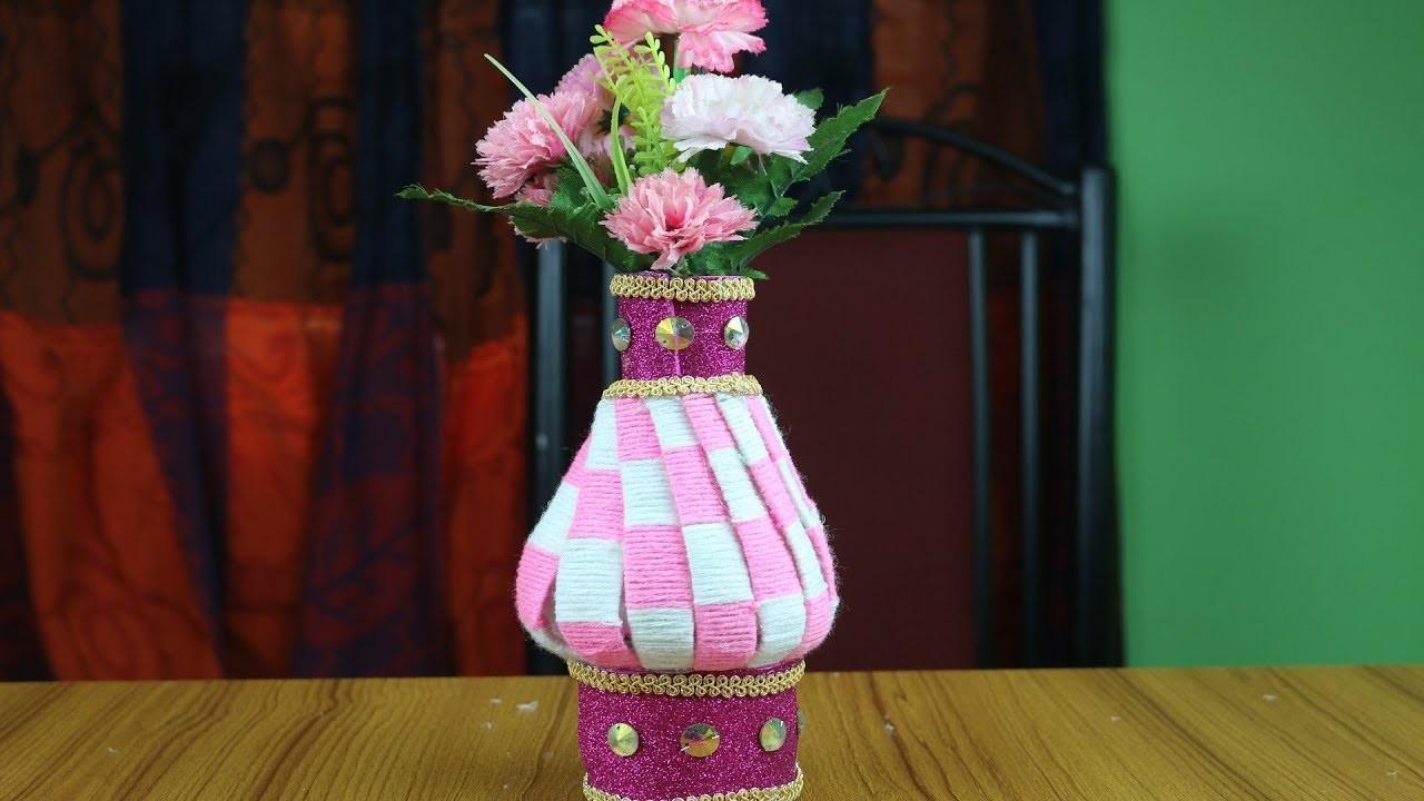 Innovative Ideas of Flower Vase    How to Make Woolen Flower Vase - Best out of waste - Reuse ideas