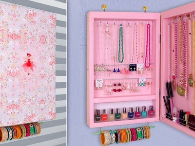 Jewelry Cabinet .  DIY Jewelry Holder Making at Home !!