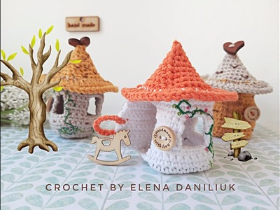 Miniature crochet fairy house decoration - embroidery, painting, tinting