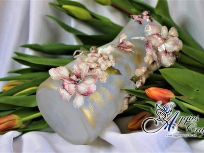 Mix Media Tutorial - Frosty Glass Vase with Sospeso Flowers - DIY