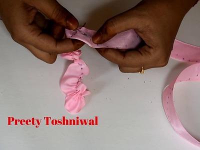 Ribbon flower making art. DIY. decoration