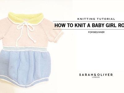 [대바늘]베이비 롬퍼 만들기, 아기옷만들기, How to knit a baby girl romper, Top down, 탑다운[Part1]