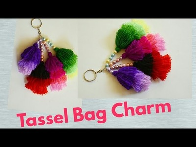Woolen tassel bag charm. Woolen key chain tutorial. DIY