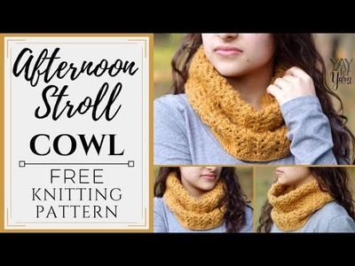 Afternoon Stroll Cowl - FREE Knitting Pattern by Yay For Yarn - Quick, One-Skein Project
