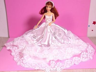 DIY Disney Princess Barbie Wedding Dress Up Beautiful Wedding How to Make Doll Dresses Tutorial