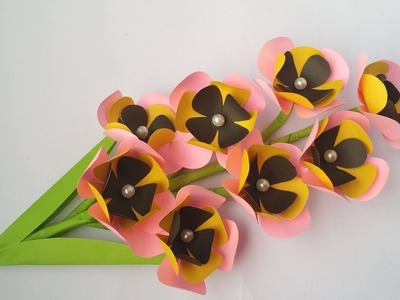 DIY: Paper Flower Stick!! How to Make Beautiful Paper Flower Stick for Home Decoration!!Easy Flower!