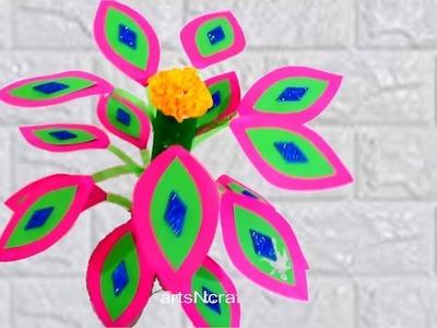 Guldasta | How to make an artificial paper plant | DIY Room Decor craft