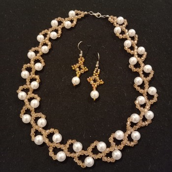 Handmade Champagne White Pearl Necklace Earrings Set Jewellery