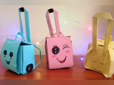 How To Make a Paper Backpack Or Trolley Bag.