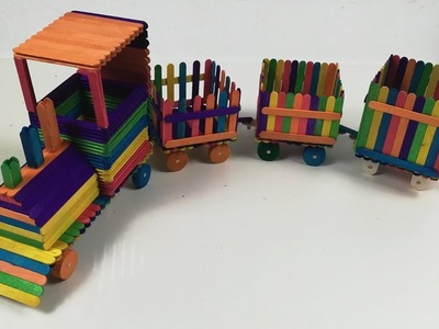 How to make a simple train with ice cream sticks