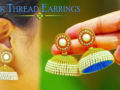 How To Make Beautiful Pearl Chain Silk Thread Earrings