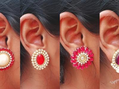 How To Make Designer Stud Earrings At Home | DIY | Earring Designs | uppunutihome