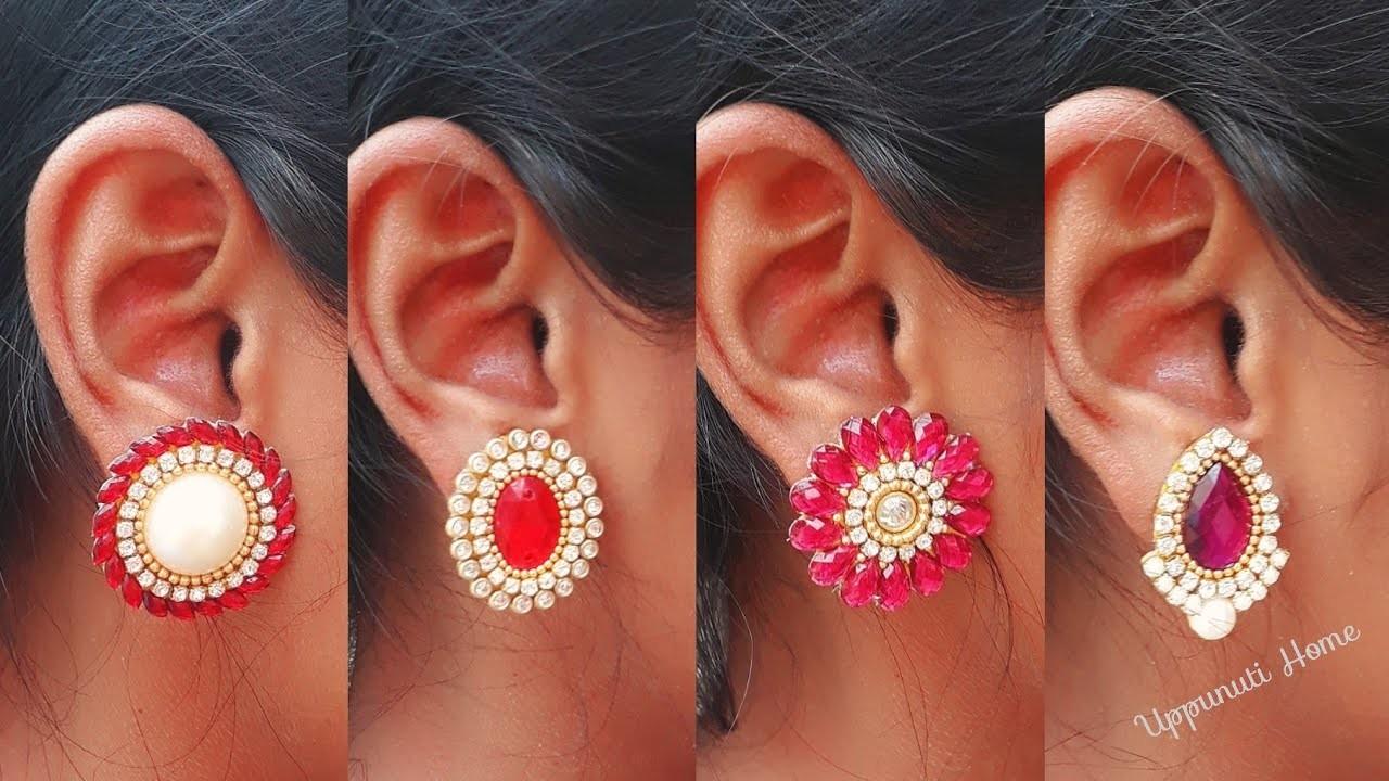 How To Make Designer Stud Earrings At Home   DIY   Earring Designs   uppunutihome