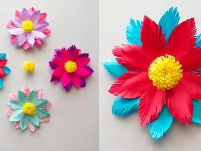 How to make Easy Paper flowers step by step. Easy paper flowers. Diy paper craft.paper flowers
