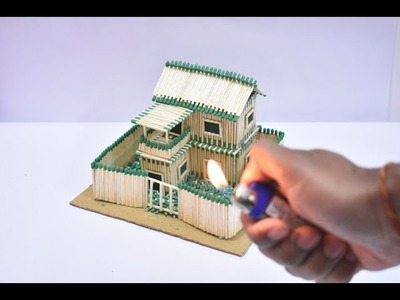 How to Make Match House and Amazing Fire Domino | Match Stick House | Matchstick art and Craft
