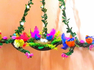 HOW TO MAKE NEST.NEST WALL HANGING.CORNER WALL HANGING USING WASTE MATERIAL
