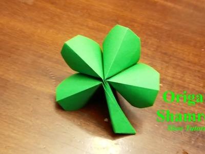 Origami 4 Leaf Clover - How to make a four leaf clover - Slow Tutorial