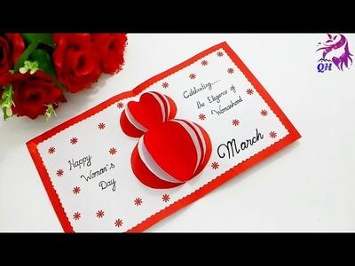 Women's day handmade greeting card  How to make handmade easy card for women's day  Queen's home