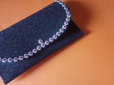 DIY Glitter Foam Sheet Purse | How to make foam sheet purse at home No Sew | Paper Clutch Purse