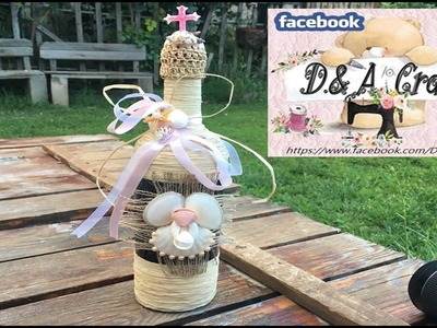DIY: How to make angel decoration on wine bottle with sea shells TUTORIAL