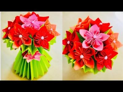 DIY how to make paper flower bouquet. flower bouquet from paper. paper craft. flower vase.flower pot