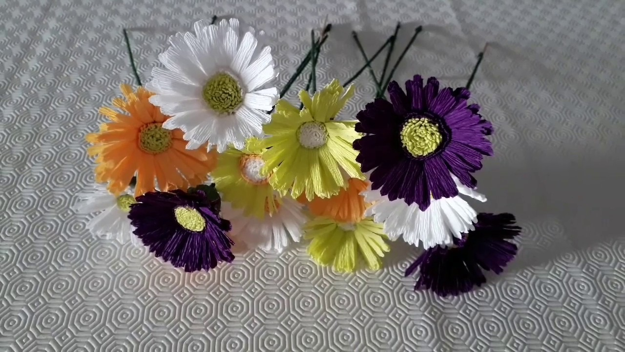 Easy Crepe Paper Flowers | How To Make Gerbera Daisy
