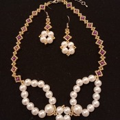 Handmade Golden Voilet White Pearl Necklace Earrings Set Jewellery